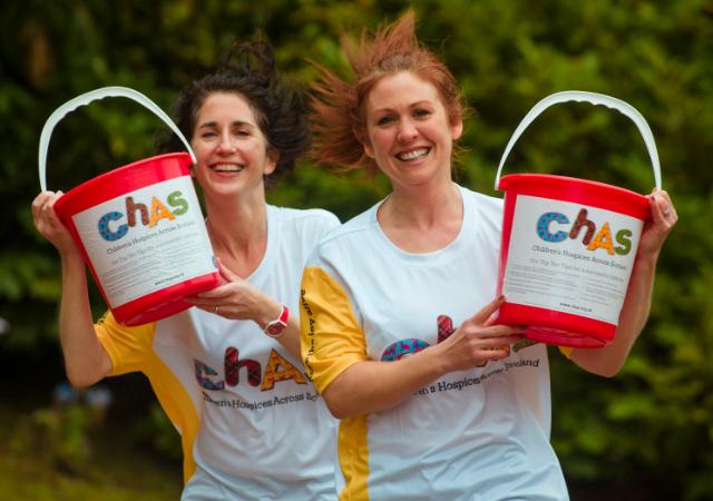 Volunteers running with joy